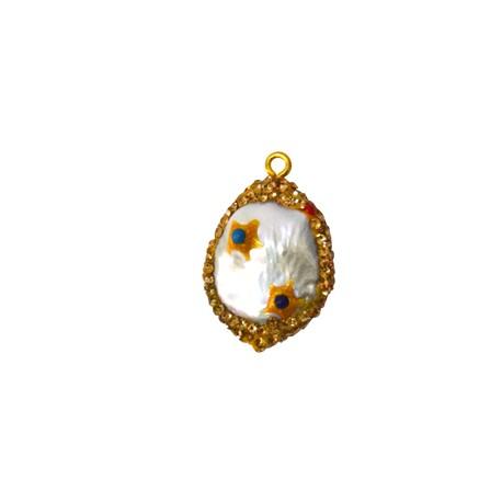 Μαργαριτάρι Μοτίφ Οβάλ Επιμεταλλωμένο Πέτρες (~22x25mm)