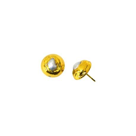 Μαργαριτάρι Σκουλαρίκι Επιμεταλλωμένο (~14mm)