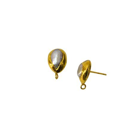 Μαργαριτάρι Σκουλαρίκι Επιμεταλλωμένο (~11x15mm)