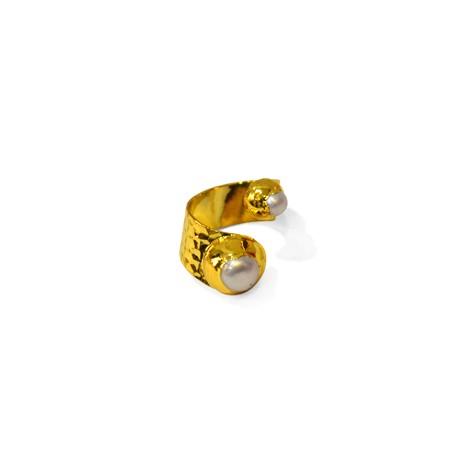 Μαργαριτάρι Δαχτυλίδι Επιμεταλλωμένο (~21x12mm)