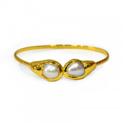 Fresh Water Pearl Bracelet Plated (~64mm/2mm)