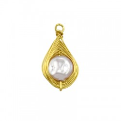 Pearl ABS Charm Drop w/ Brass Wire 11x16mm