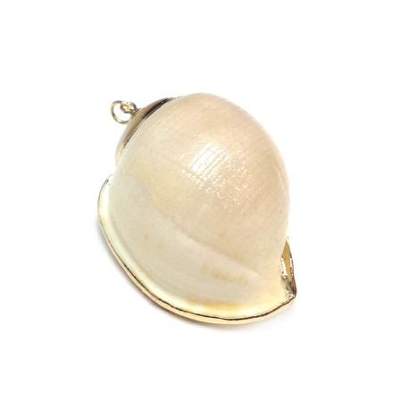 Ciondolo di Conchiglia con Metallo (~33x52mm)