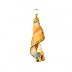 Sea Shell Pendant Plated w/ Zircon (~20x73mm)