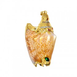 Sea Shell Pendant Plated w/ Zircon (~24x60mm)