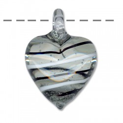 Γυάλινο Μοτίφ Καρδιά (τύπου Μουράνο) 30x39mm