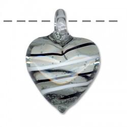 Murano Glass Heart 30x39mm