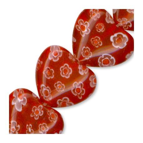 Millefiori Glass Bead Heart 16mm