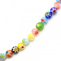 Millefiori Glass Bead Round 8mm (48pcs/string)
