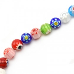 Millefiori Glass Bead Round 10mm (38pcs/string)