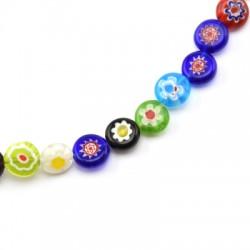 Millefiori Glass Bead Flat Round 10mm (38pcs/string)