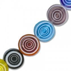 Perlina in Vetro Schiacciata con Cerchi 10mm (~ 39pz/filo)