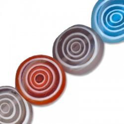 Perlina in Vetro Schiacciata con Cerchi 12mm (~ 32pz/filo)