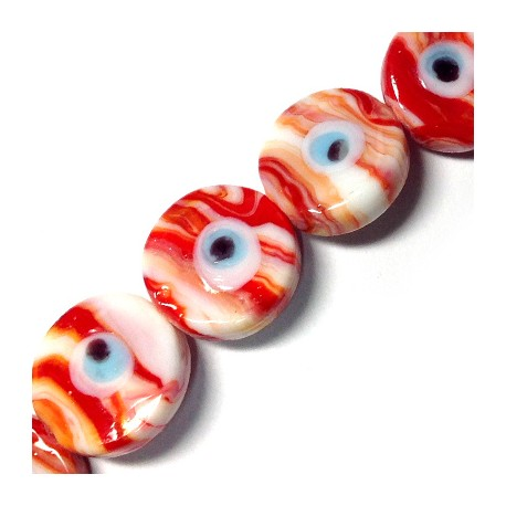 Glass Eye Round Flat 20mm (10 pieces per cord)