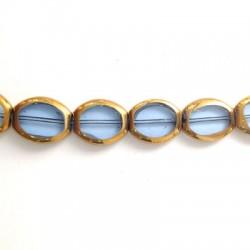 Passante di Vetro Placcato Perlina Ovale Schiacciata 14x17mm (~21pz/filo)
