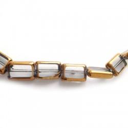 Passante di Vetro Placcato Perlina Rettangolare Schiacciata 8x12mm (~30pz/filo)