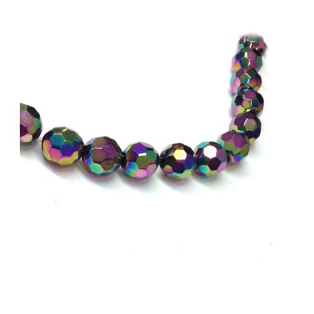 Glass Bead Round Faceted Plated 16mm (~22pcs)