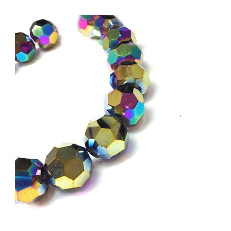 Glass Bead Round Faceted Plated 20mm (~18pcs)