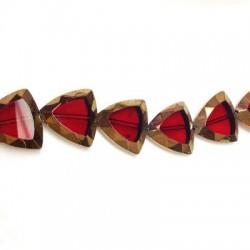 Passante di Vetro Placcato Perlina Triangolare Schiacciata 23mm (~15pz/filo)