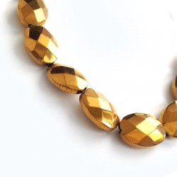 Passante di Vetro Placcato Perlina Ovale Schiacciata Sfaccettata 13x18mm (~20pz/filo)