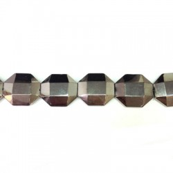 Glass Bead Faceted Irregular Plated 25x28mm