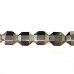 Passante di Vetro Placcato Perlina Irregolare Sfaccettata 25x28mm (~14pz/filo)