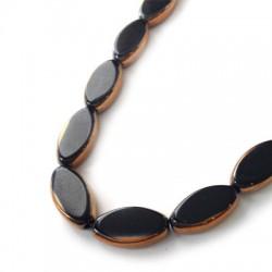 Passante di Vetro Placcato Perlina Ovale Schiacciata 10x18mm (~17pz/filo)
