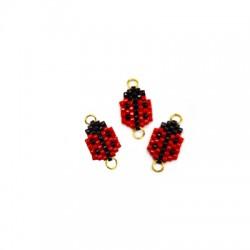 Miyuki Crystal Beads Connector Ladybug 9x13mm