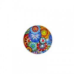 Γυάλινο Flatback Στρογγυλό Λουλούδια 30mm