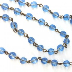 Chaîne rosaire avec perles facettées en verre 6mm