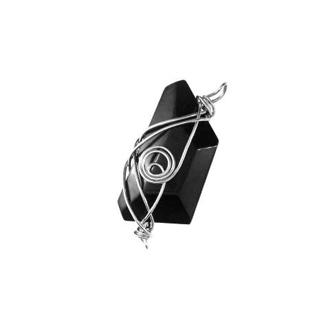 Perle en verre irrégulière 13x42mm entrelacée avec du fil métallique