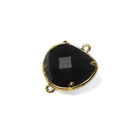 Connettore in Ottone con Cristallo Irregolare Sfaccettato Incastonato 15x16mm