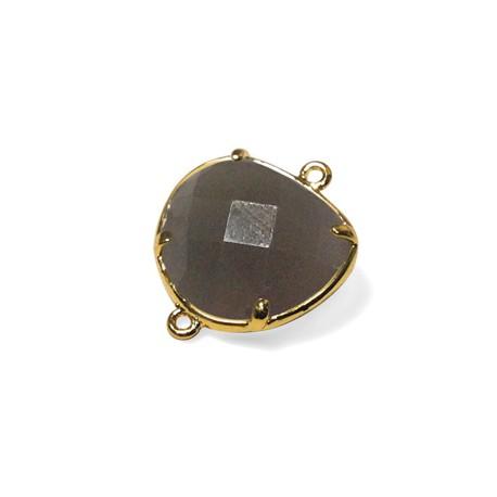 Γυάλινη Πέτρα Στοιχείο Ορειχάλκινη Βάση για Μακραμέ 15x16mm