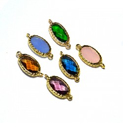 Brass Oval Setting with Crystal Stone 10x15mm w/ 2 Rings