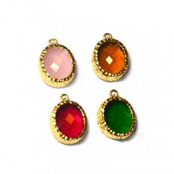 Brass Setting with Crystal Stone 12x14mm w/ 1 Ring