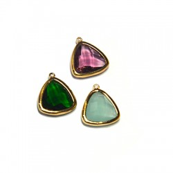 Brass Triangle Setting with Crystal Stone 15mm w/ 1 Ring