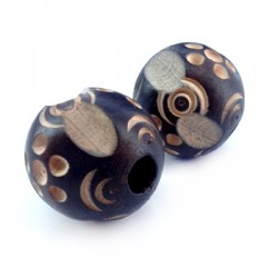 Wooden Bead Carved 29mm