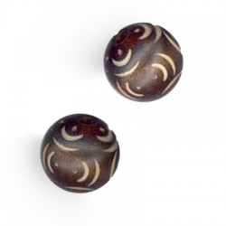 Wooden Bead Carved 19mm
