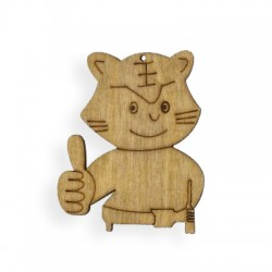 Wooden cat 47mm