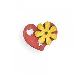 Ξύλινο Μοτίφ Καρδιά με Λουλούδι 30mm