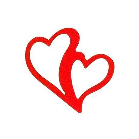 Ξύλινο Μοτίφ Καρδιά Διπλή 52x47mm