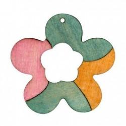 Ξύλινο Μοτίφ Λουλούδι 50mm