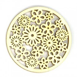 Ξύλινο Στοιχείο Στρογγυλό με Λουλούδια 60mm