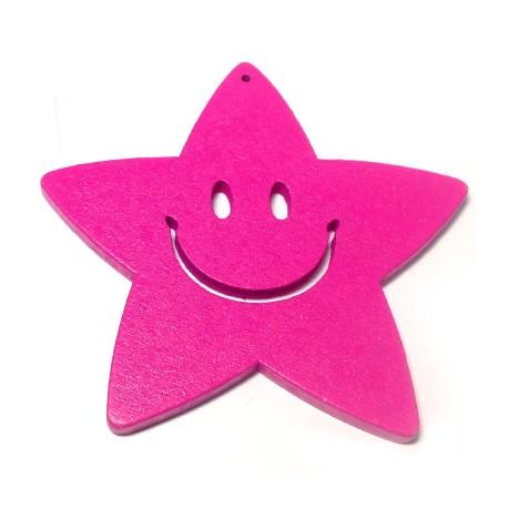Ξύλινο Μοτίφ Χαμογελαστό Αστέρι 70mm