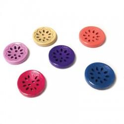 Bottoni in Legno Rotondi Fiori 20mm