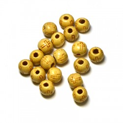 Wooden Bead Round w/ Cross 10x8mm