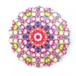 Ciondolo di Legno Fiore con Disegni Etnici 60mm