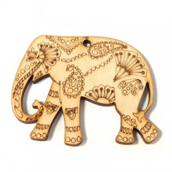 Wooden Pendant Elephant Ethnic 61x50mm