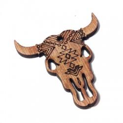 Wooden Pendant Cow's Head Geometric 50x52mm