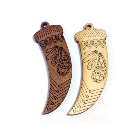Wooden Pendant Tooth 26x65mm